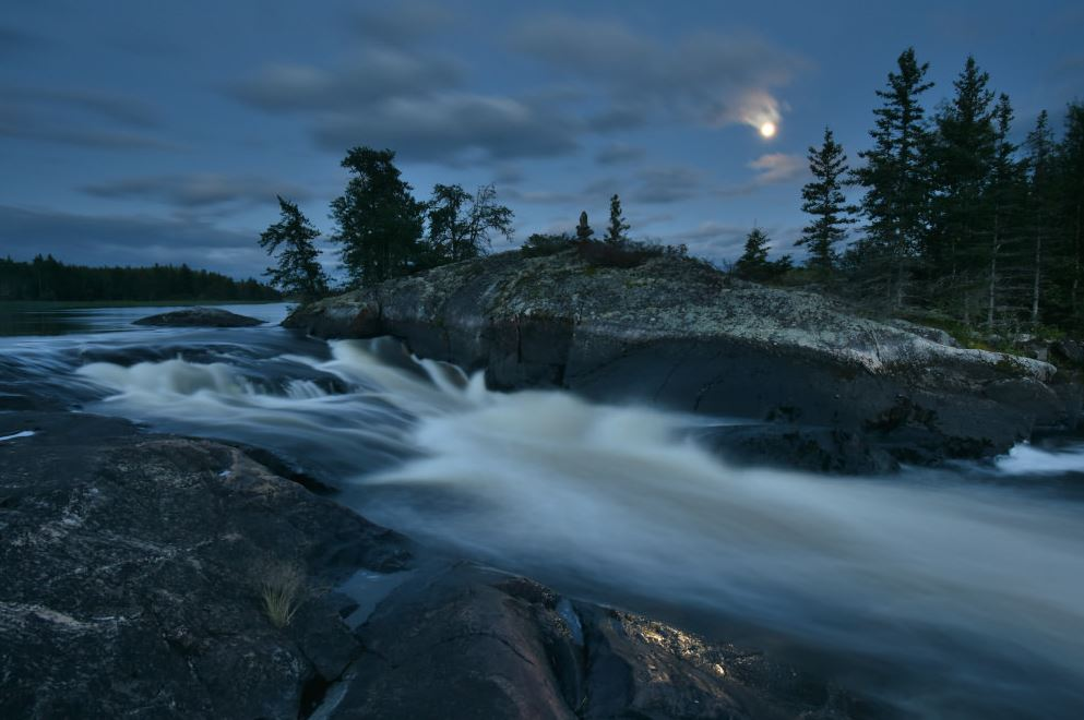 Moonrise at Smoothrock Falls