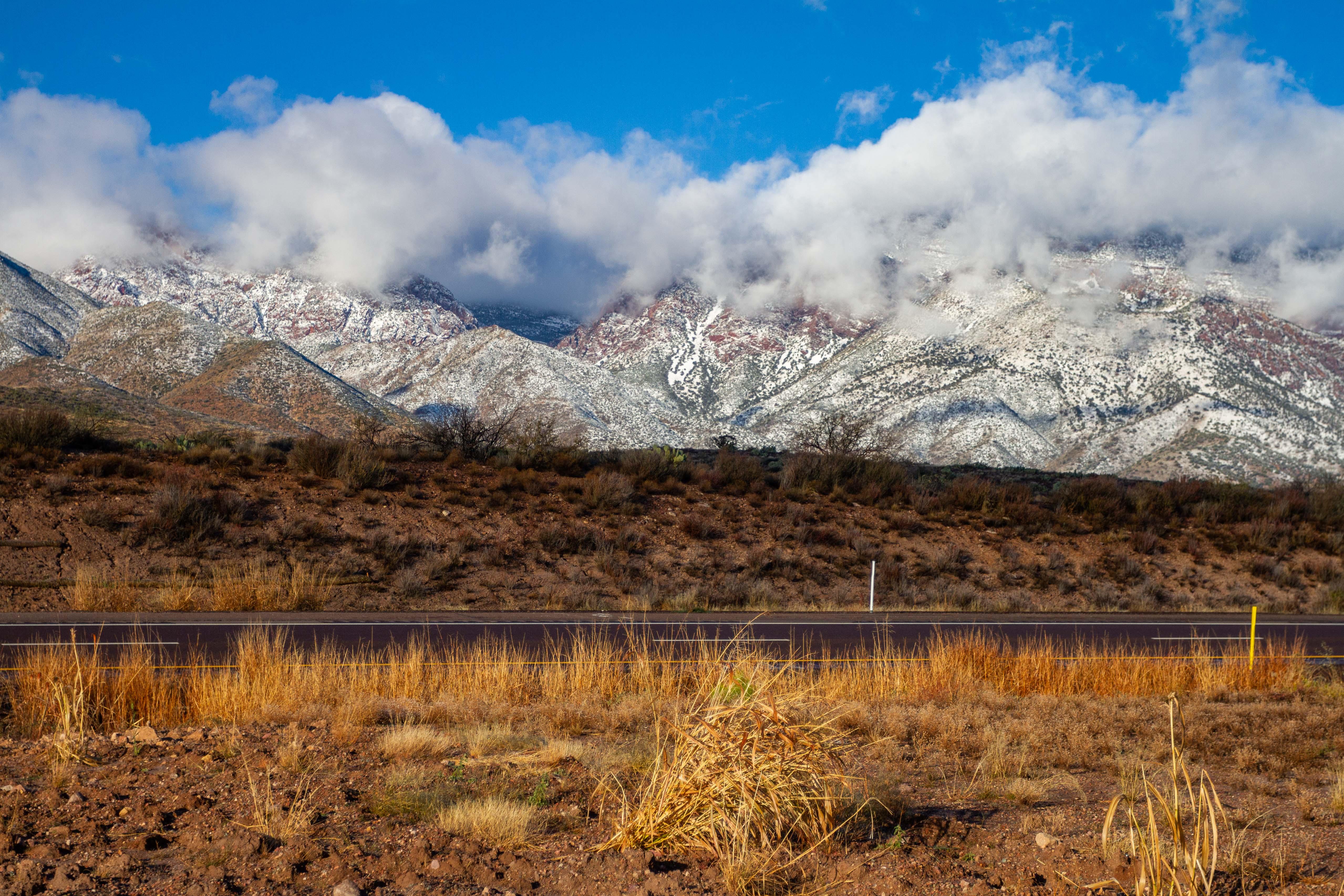 Arizona Highway 87 Snow Covered Mountains